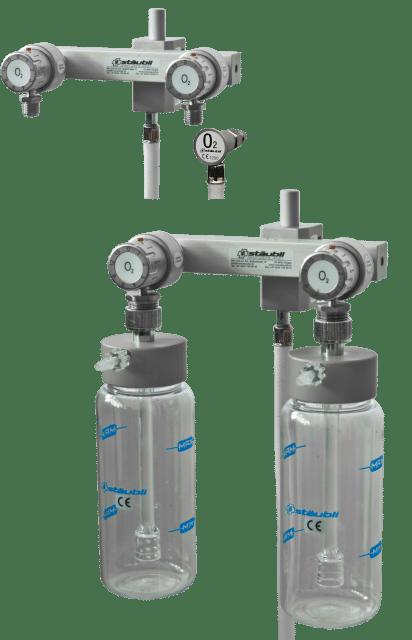 6.1.4 Doppel-Sauerstoffspender mit Durchflusswähler und Unihalter