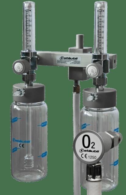 6.1.9 Dispensateur Double d'Oxygène avec Flowmètre / avec Support Universel